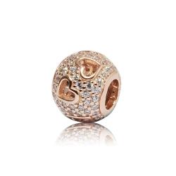 Pandora 潘朵拉 圓形鑲鋯鏤空愛心 玫瑰金 純銀墜飾 串珠