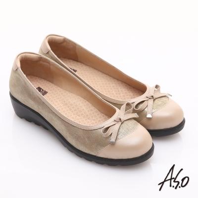 A.S.O 舒適通勤 金箔真皮蝴蝶結奈米楔型跟鞋 卡其