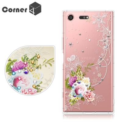 Corner4 Xperia XZ Premium 奧地利彩鑽防摔手機殼-緋雪薔...