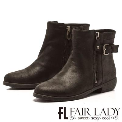 Fair Lady 時尚百搭拉鍊扣帶粗跟短靴 黑