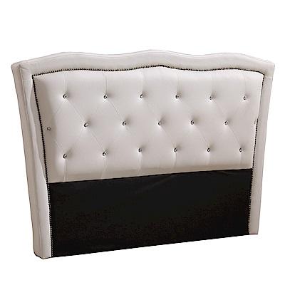 AT HOME 凱羅5尺水鑽拉扣白皮雙人床頭片(176*10*115cm)