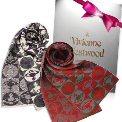 Vivienne Westwood  棋盤格星球羊毛圍巾(多色)-均一價 2980