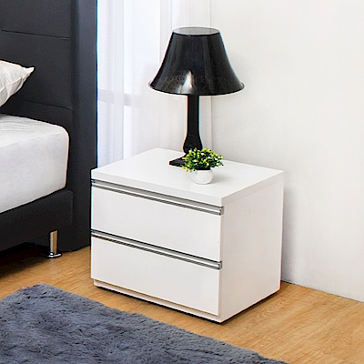 Bernice-貝塔絲1.6尺白色二抽床頭櫃-48x41x43cm