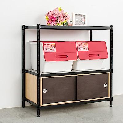 dayneeds鐵木欣櫃派 90X45X90cm 三層烤黑層架含木板+單格雙門櫃
