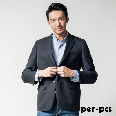 per-pcs 商務質男毛料經典素面款西裝外套_黑色(815302)