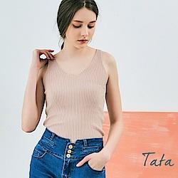 粉漾清新V領針織背心 TATA
