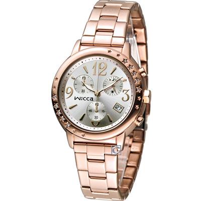 WICCA 魔幻甜美計時腕錶(BM1-121-11)-白x玫瑰金/35mm