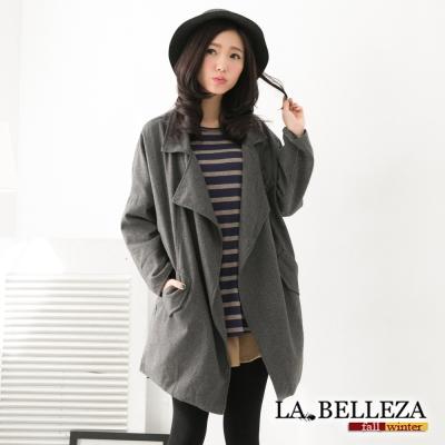 中大尺碼 韓版時尚大翻領毛料西裝外套-La Belleza