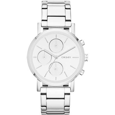 DKNY 魅力無限計時時尚腕錶-銀/38mm