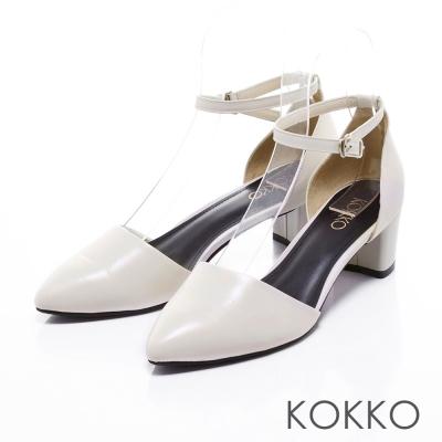 KOKKO經典真皮-法式優雅繫踝粗跟鞋-白