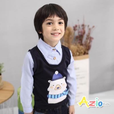 Azio Kids 童裝-上衣 毛帽熊假兩件條紋長袖上衣(藍)