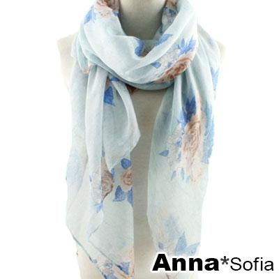AnnaSofia 玫瑰細絮 巴黎紗披肩圍巾(藍底咖花系)