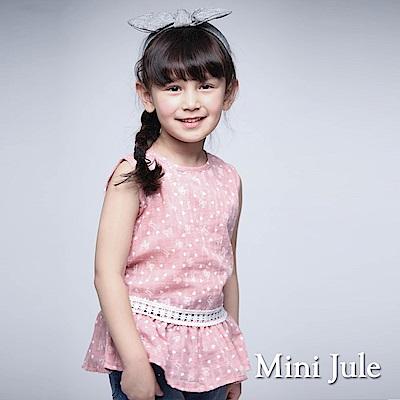 Mini Jule 童裝-背心 滿版蝴蝶結愛心後釦無袖上衣(豆粉)