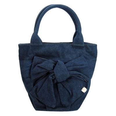agnes b. 牛仔帆布蝴蝶結飾手提包(藍)