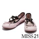 娃娃鞋 MISS 21 復古甜心芭蕾羊皮娃娃鞋-粉