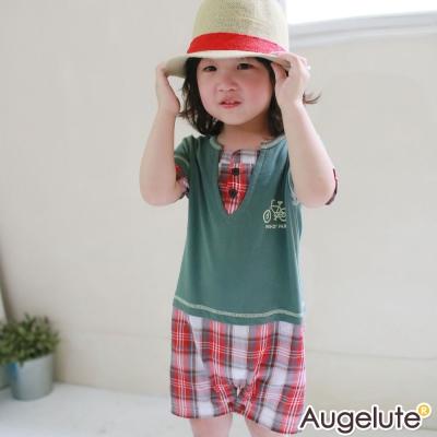 baby童衣 連身衣 短袖假兩件V領格紋42182