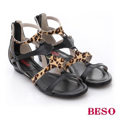BESO-摩登部落-動物紋混搭羅馬涼鞋-黑