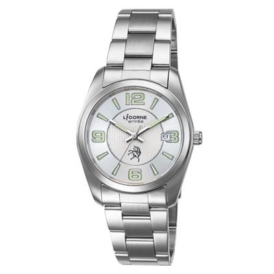 LICORNE 恩萃 Entree  簡約時尚設計都市腕錶-銀白x綠/36mm