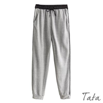 鬆緊腰繫帶棉網休閒褲-TATA