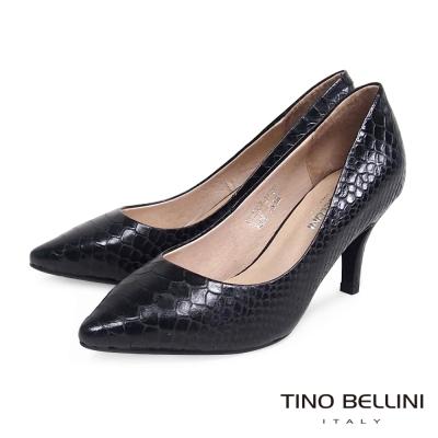 Tino-Bellini-神祕迷人精緻蛇紋真皮跟鞋-黑