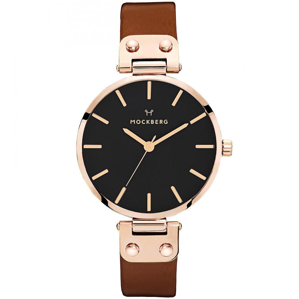 MOCKBERG VILDE質感簡約真皮手錶-黑X玫瑰金框/34mm