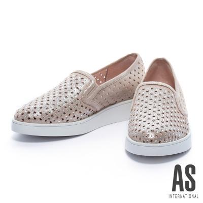 休閒鞋-AS-星星沖孔造型晶鑽全真皮厚底休閒鞋-金
