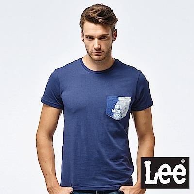 Lee 淺水印花短袖圓領口袋TEE-男款-藏藍色