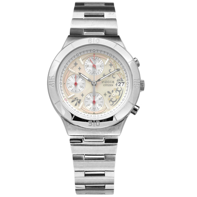 CITIZEN 星辰表 WICCA 珍珠母貝不鏽鋼手錶-銀色/32mm