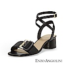 ENZO ANGIOLINI--方扣一字繞帶中跟涼鞋-都會黑