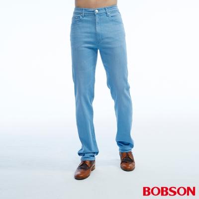 BOBSON 男款高腰彈性淺藍直筒褲