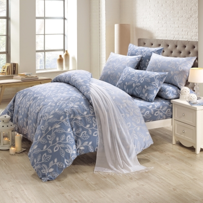鴻宇HongYew 100%精梳棉 奧德曼 藍 雙人加大床包枕套三件組