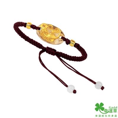 幸運草 納財貔貅黃金/水晶手鍊