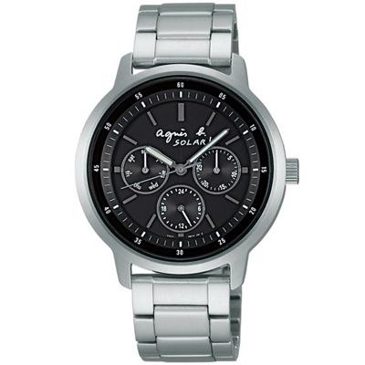 agnes b.solar 太陽能炫黑三眼時尚腕錶-黑/38mm