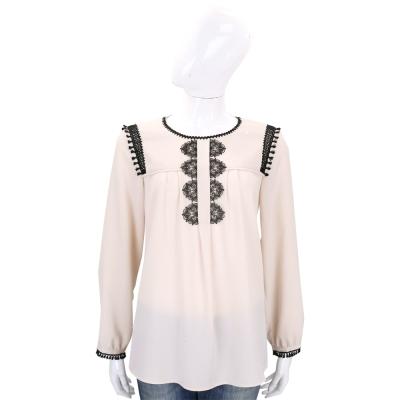 Max Mara-WEEKEND 粉膚色織花飾邊長袖上衣