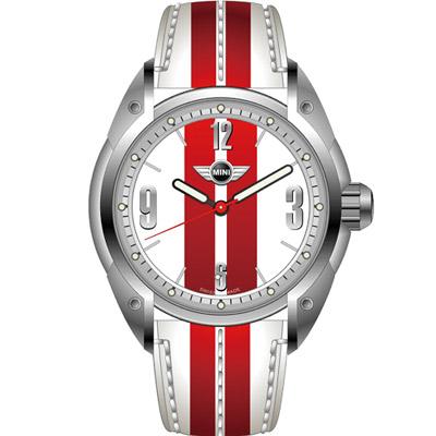 MINI Swiss Watches  休閒運動腕錶-白+紅/45mm