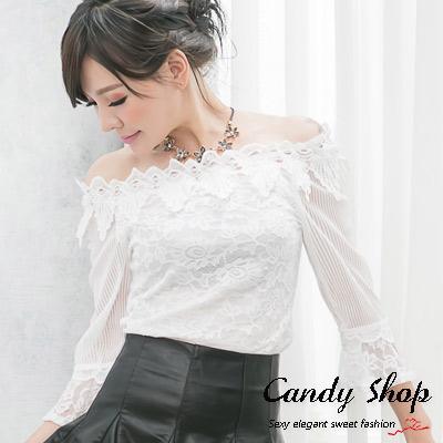 Candy小舖-新品特色款-優雅氣質微透蕾絲一字領上衣-白色