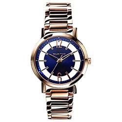 RELAX TIME RT56 輕熟風格系列鏤空腕錶-藍x玫瑰金/36mm