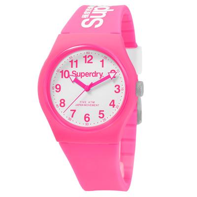 Superdry 極度乾燥 多彩 矽膠 運動腕錶-粉紅帶/白面/37mm