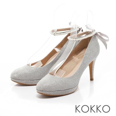 KOKKO-古典漫舞曲珍珠繫帶舒壓高跟鞋-銀色