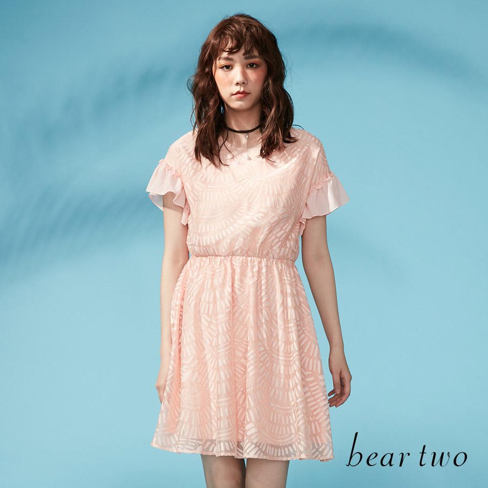 beartwo 煙火感燒花雪紡縮腰洋裝(三色)