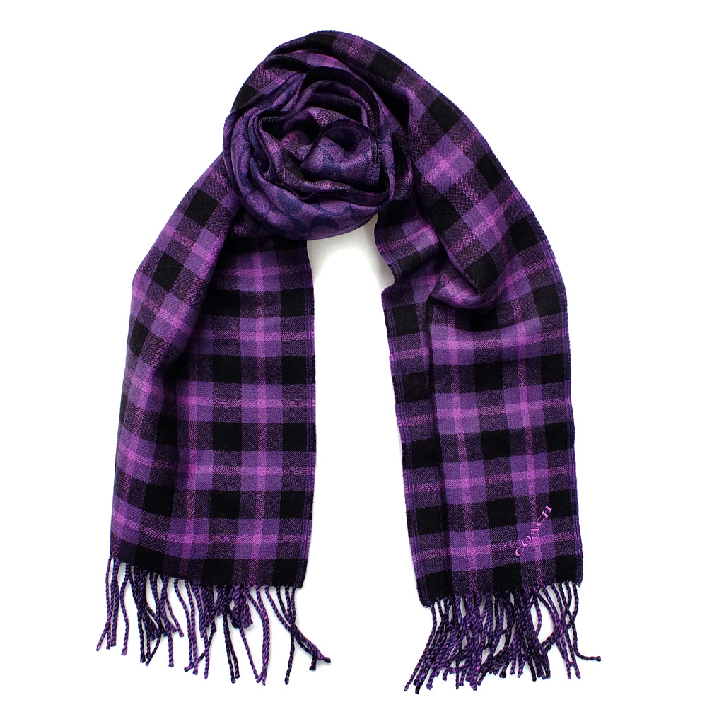 COACH紫黑格紋C Logo流蘇羊毛保暖長圍巾(183x30.5)COACH