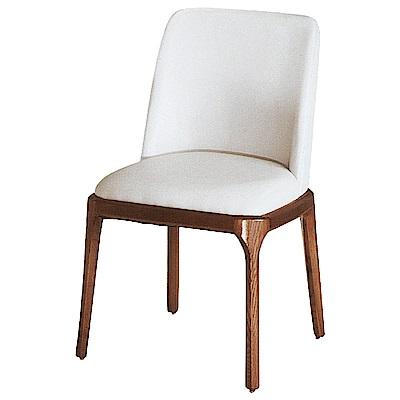 AS-貝琪淺胡桃白色皮面餐椅-54x52x87cm