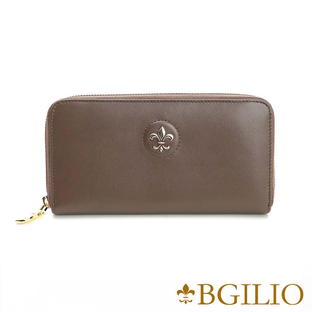 義大利BGilio - 氣質NAPPA軟牛皮拉鏈長夾 - 灰褐色1942.323A-06
