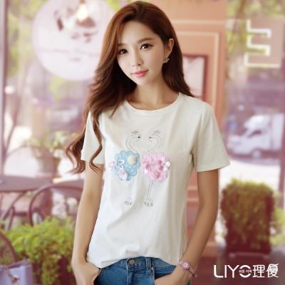 LIYO理優繡花圓領T恤(白)
