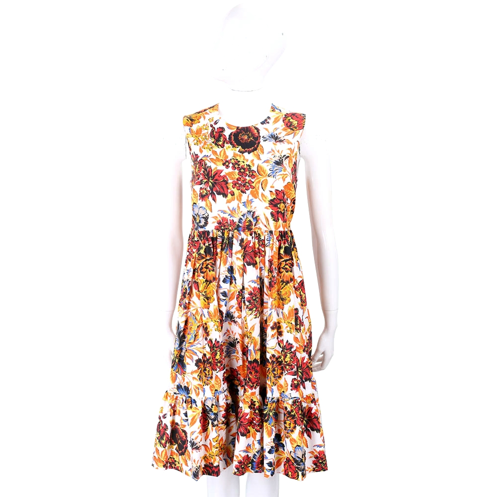 MSGM 熱帶印花橘黃色抓摺高腰洋裝