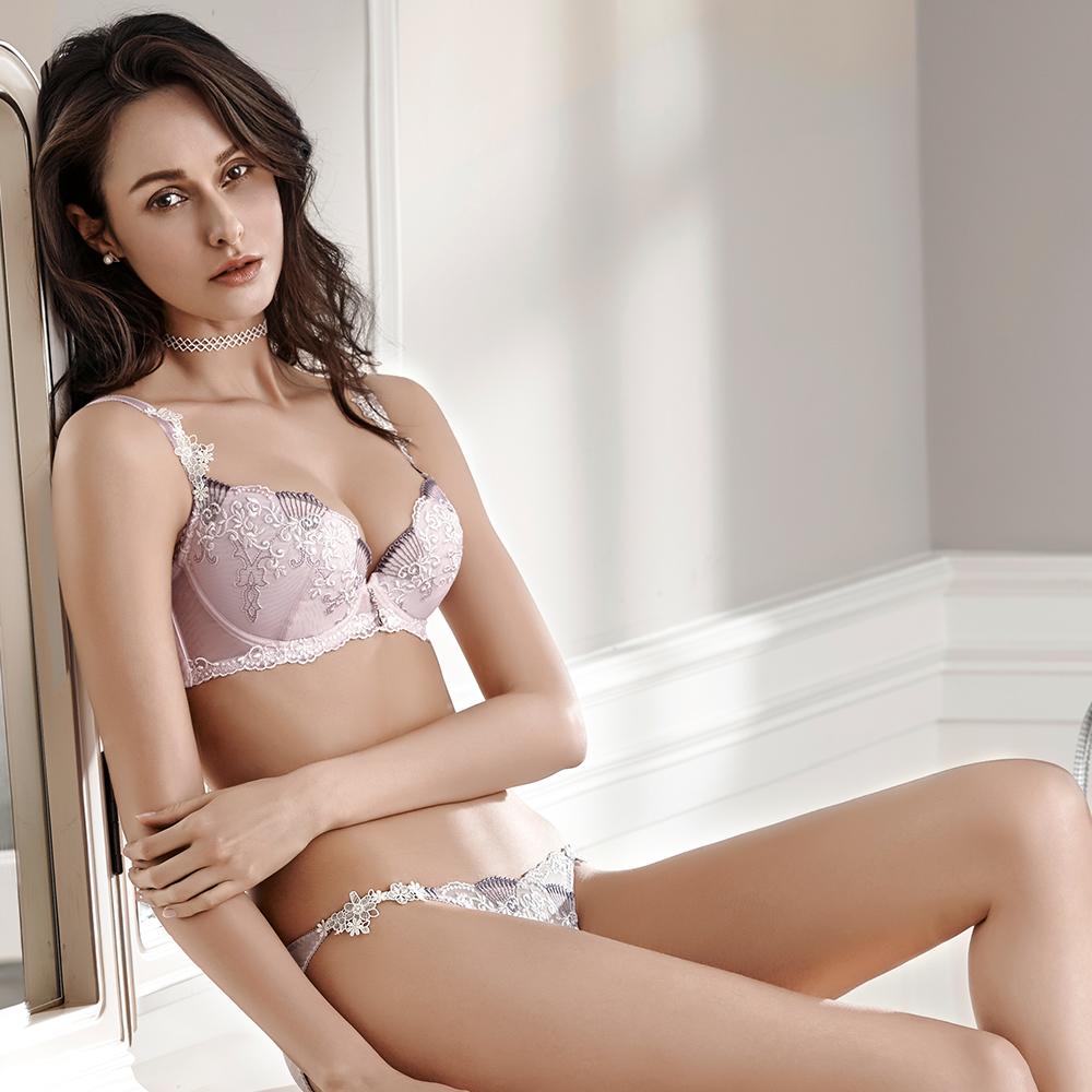 LADY 薔薇蜜語系列 刺繡深線內衣 B-F罩(粉嫩紫)