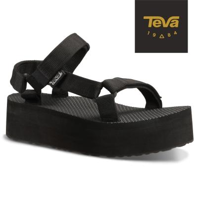 TEVA 美國-女 Flatorm Universal 緹花織帶厚底涼鞋 (黑)