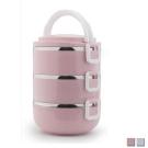 PUSH! 餐具用品不鏽鋼保溫飯盒防燙3層便當盒E93-1粉色