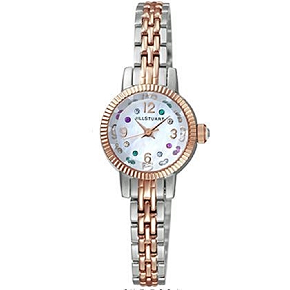 JILL STUART FACET GEM系列名媛氣質晶鑽時尚腕錶-銀x玫瑰金/19mm