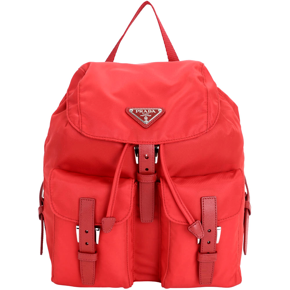 PRADA 經典三角鐵牌雙口袋尼龍後背包(小/紅色)